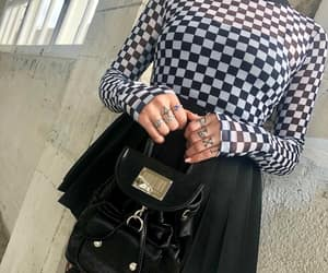 checkered, fashion, and long sleeve image
