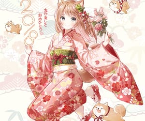 anime girl, christmas, and neko image