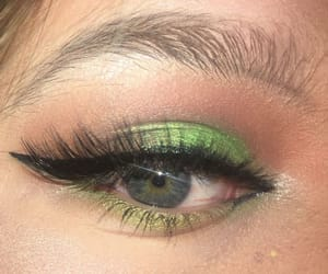 eyeshadow, fake lashes, and green image