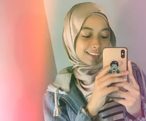 hijab, jacket, and stripes image