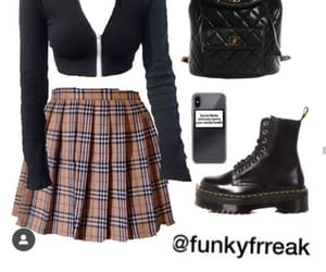 outfit, crop top, and skirt image