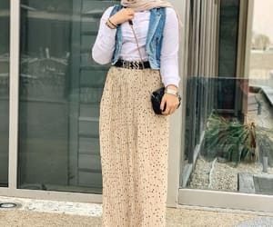 hijab fashion, puffy maxi skirt, and pleated maxi skirt image