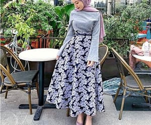 hijab fashion, pleated maxi skirt, and striped skirts image