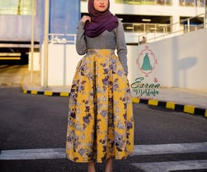 hijab fashion, striped skirts, and pleated maxi skirt image