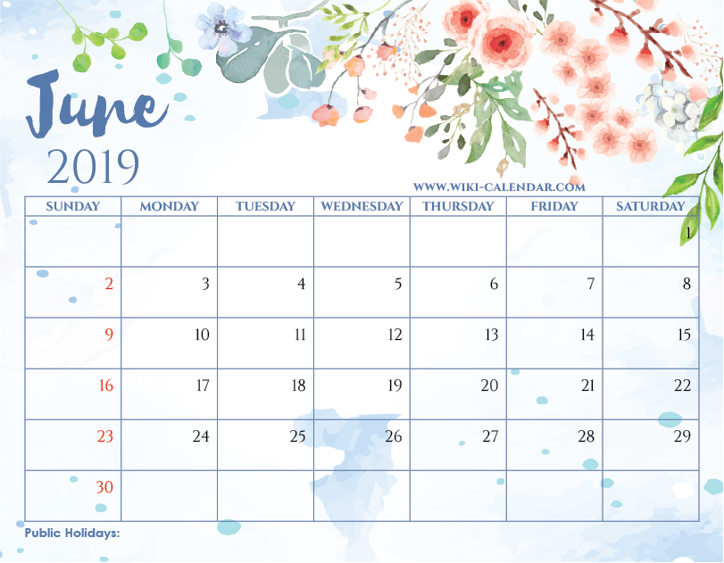 Blank June 2019 Printable Calendar.Blank June 2019 Calendar Printable On We Heart It