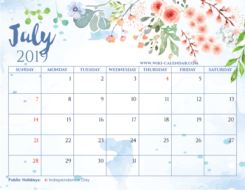Blank July 2019 Calendar Printable On We Heart It