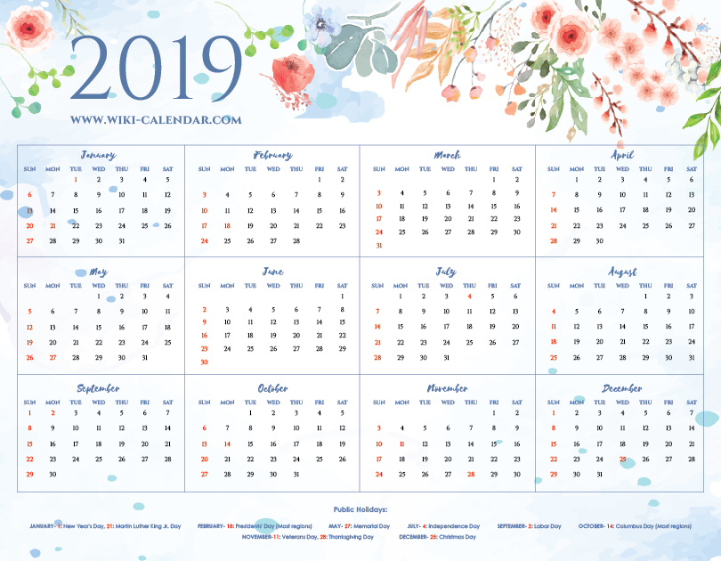 graphic relating to Printable Calendar named Printable Blank 2019 Calendar Templates upon We Center It