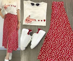 Fashion girls, sneakers, and skirts image