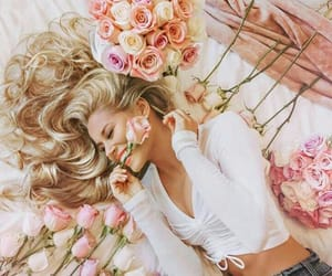 flowers, pink roses, and girls image