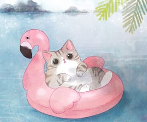 cat, cute, and flamingo image