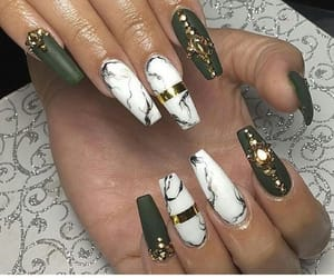 nails, acrylic, and green image