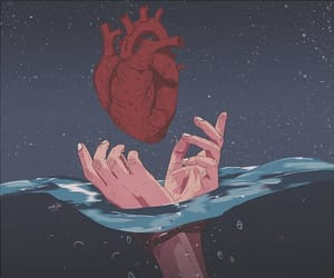 art, water, and heart image