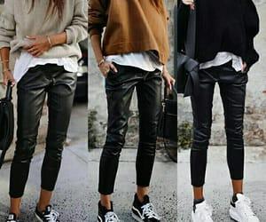 black, pullover, and leggins image