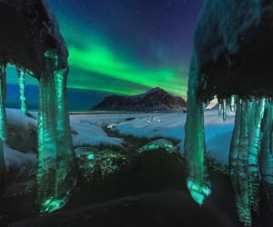 night, northern lights, and norway image