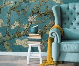 armchair, blue, and books image