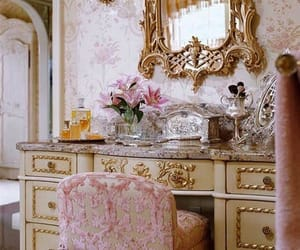 chair, dressing table, and flower image