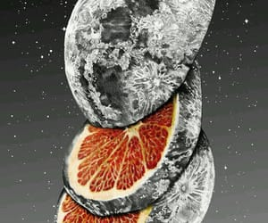 moon, orange, and art image