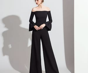 evening dresses, girl, and black jumpsuit image