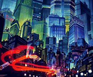 blue, cyberpunk, and city image