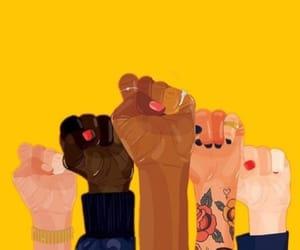woman, girl, and yellow image