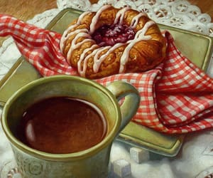 art, coffee, and danish image