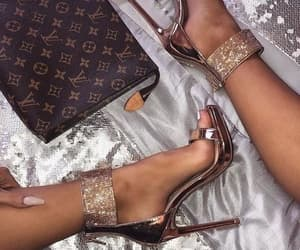 gold, shoes, and heels image
