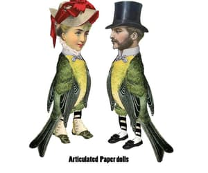 birdcage, etsy, and paper dolls image