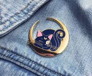 cat, sailor moon, and moon image