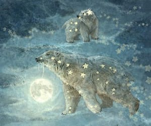 bear, moon, and stars image