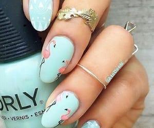 nails, flamingo, and nail art image