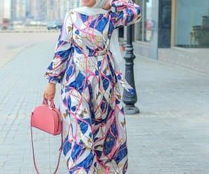 hijab fashion, chain print, and scarf print image