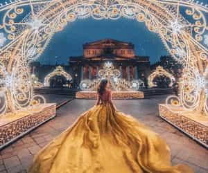 dress, yellow, and beautiful image
