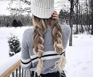 braid, hair, and snow image