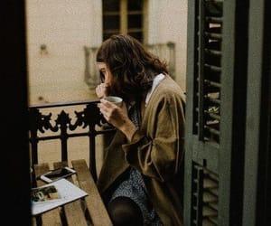 coffee, girl, and balcony image