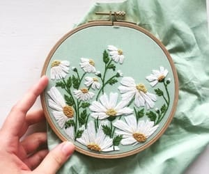 embroidery, bastidor, and flowers image