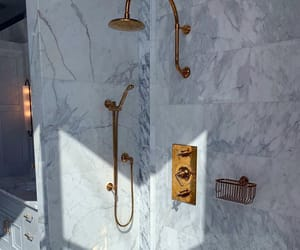 bathroom, gold, and marble image