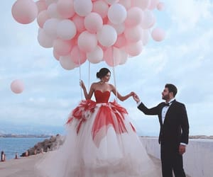 balloons, couple, and love image