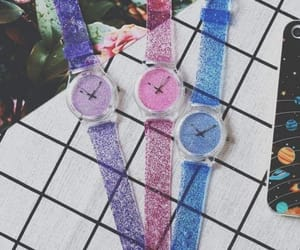 blue, clock, and pink image