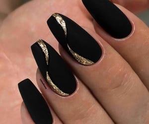 black, nail art, and gold image