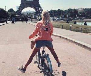 bicycle, eiffel tower, and girl image