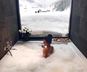 bath, winter, and snow image