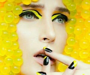 creative photography, eyeshadow, and yellow makeup image
