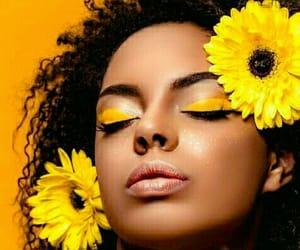 makeup model, yellow eyeshadow, and makeup colours image