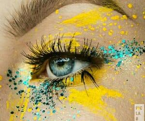 eye art, yellow aesthetics, and yellow eyeshadow image