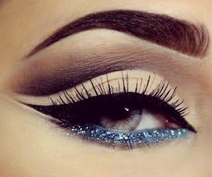 blue, eyeliner, and lashes image