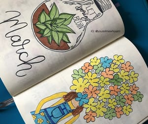 calligraphy, colorful, and floral image
