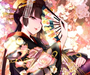 anime, black hair, and flowers image