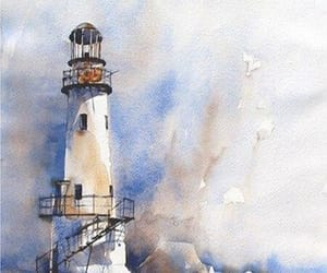 lighthouse, painting, and watercolor image