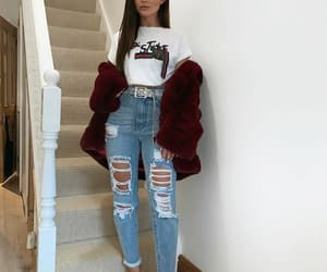 chic, fur, and outfit image