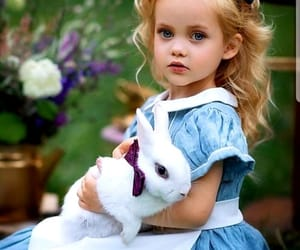 girl blonde, dress blue, and bunny white image
